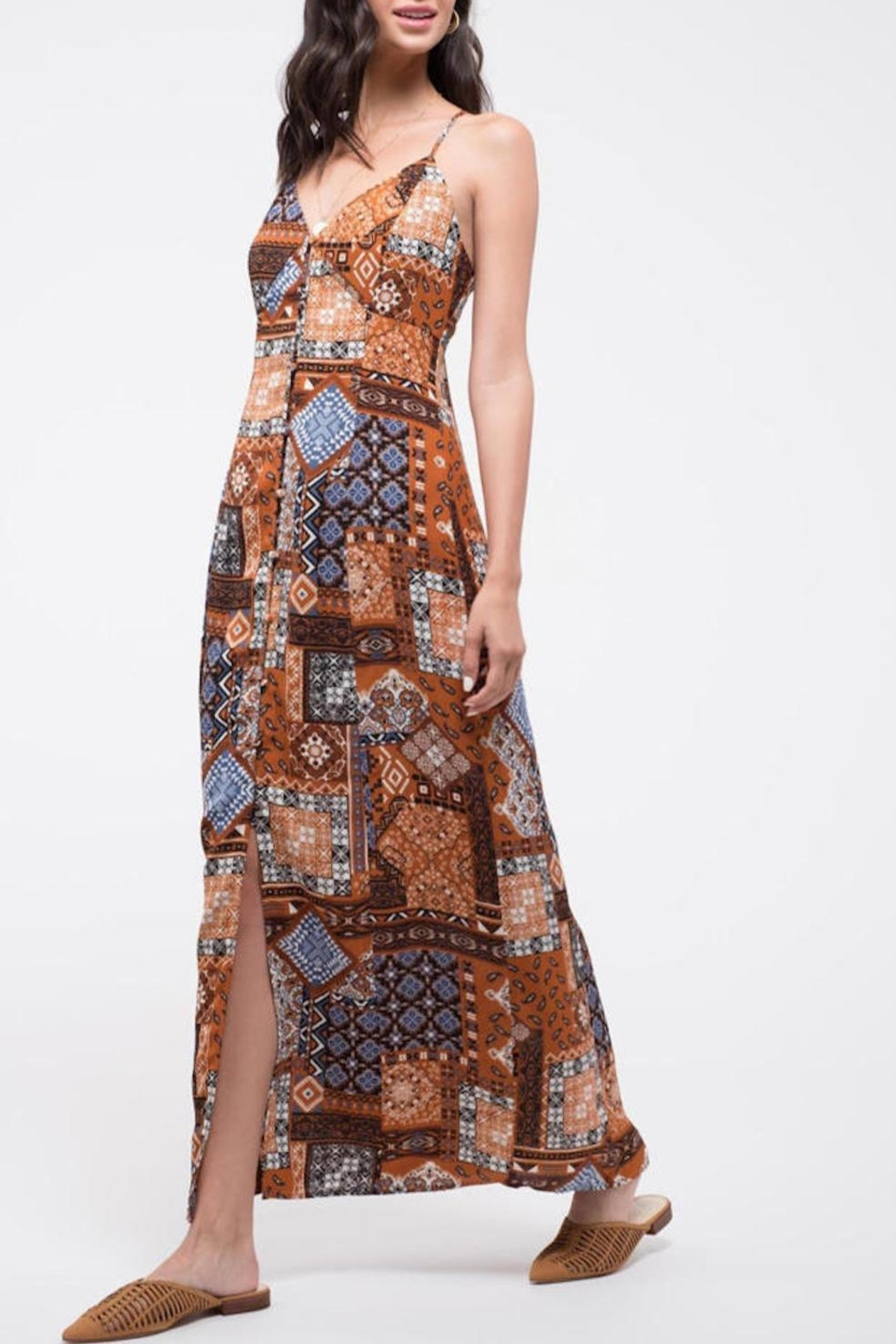 Blu Pepper Patchwork Maxi Dress - Front Full Image