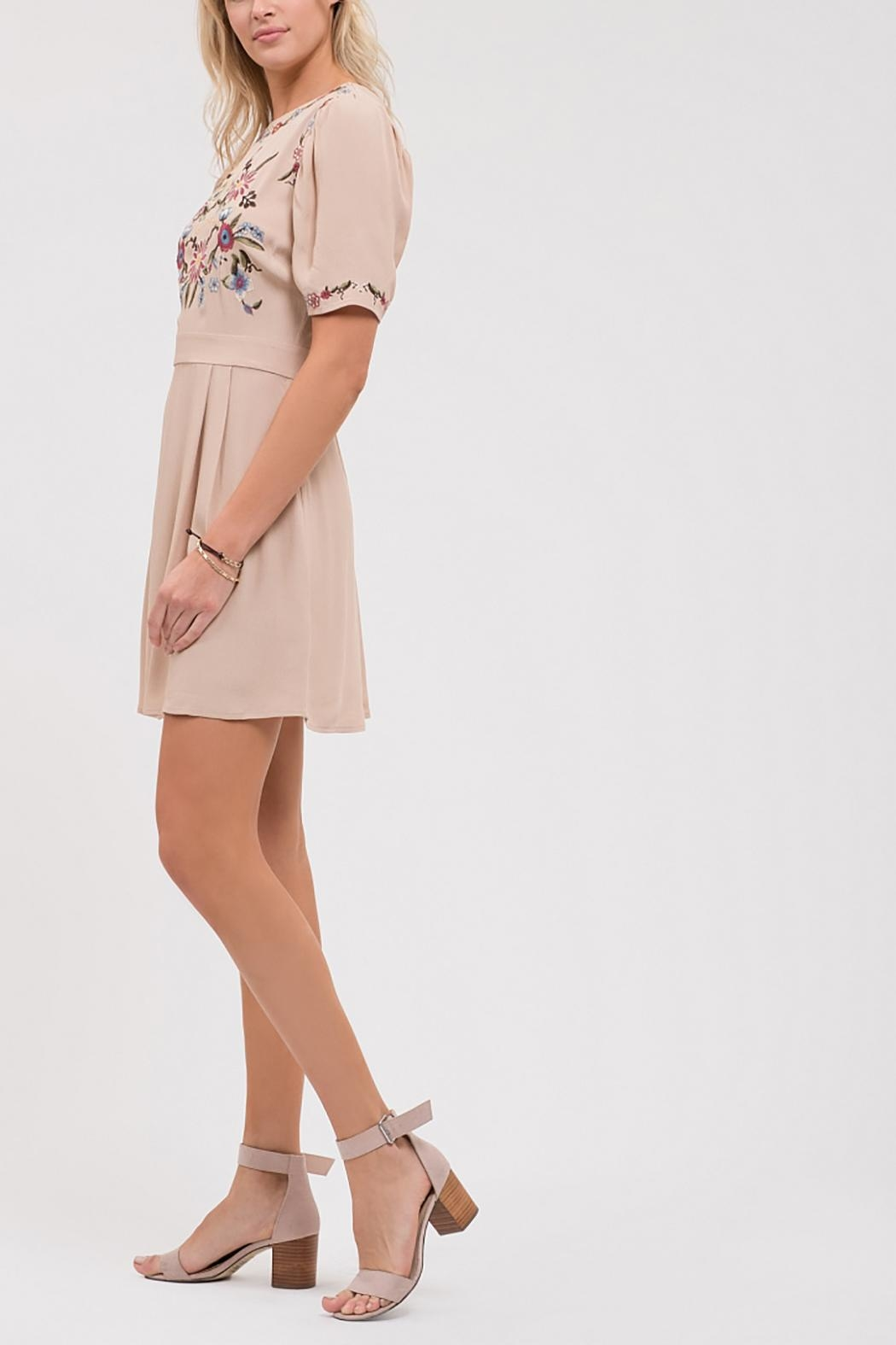 Blu Pepper Pleated Embroidered Dress - Front Full Image