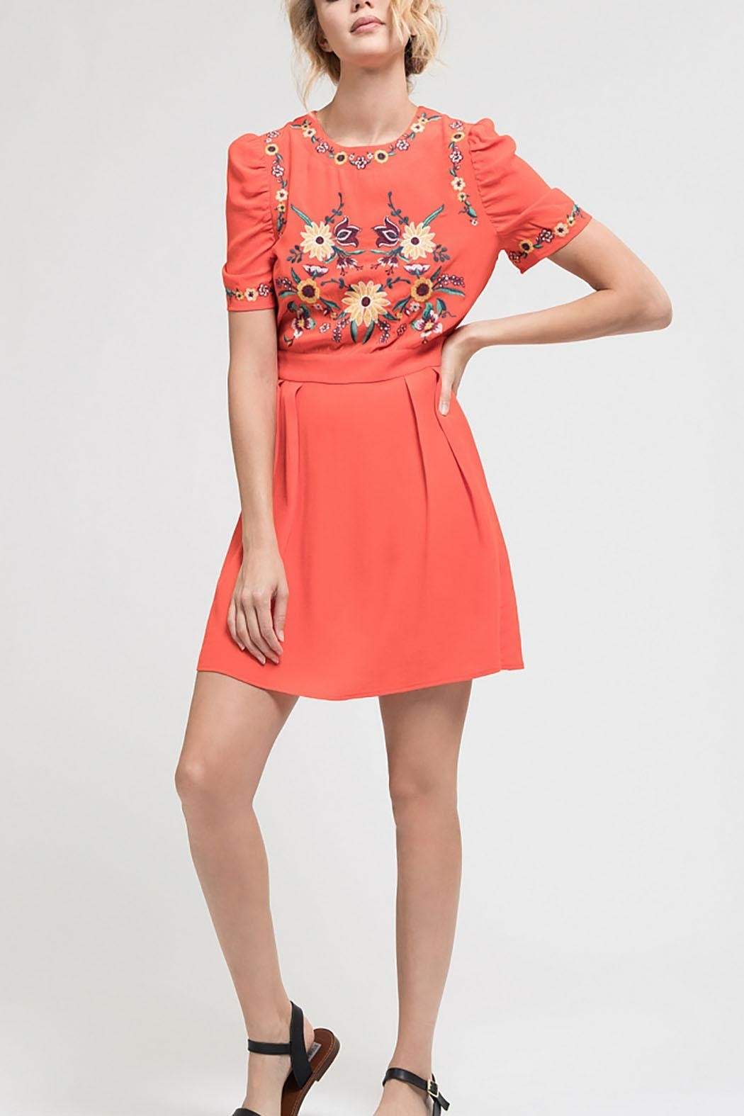 Blu Pepper Pleated Embroidered Dress - Front Cropped Image