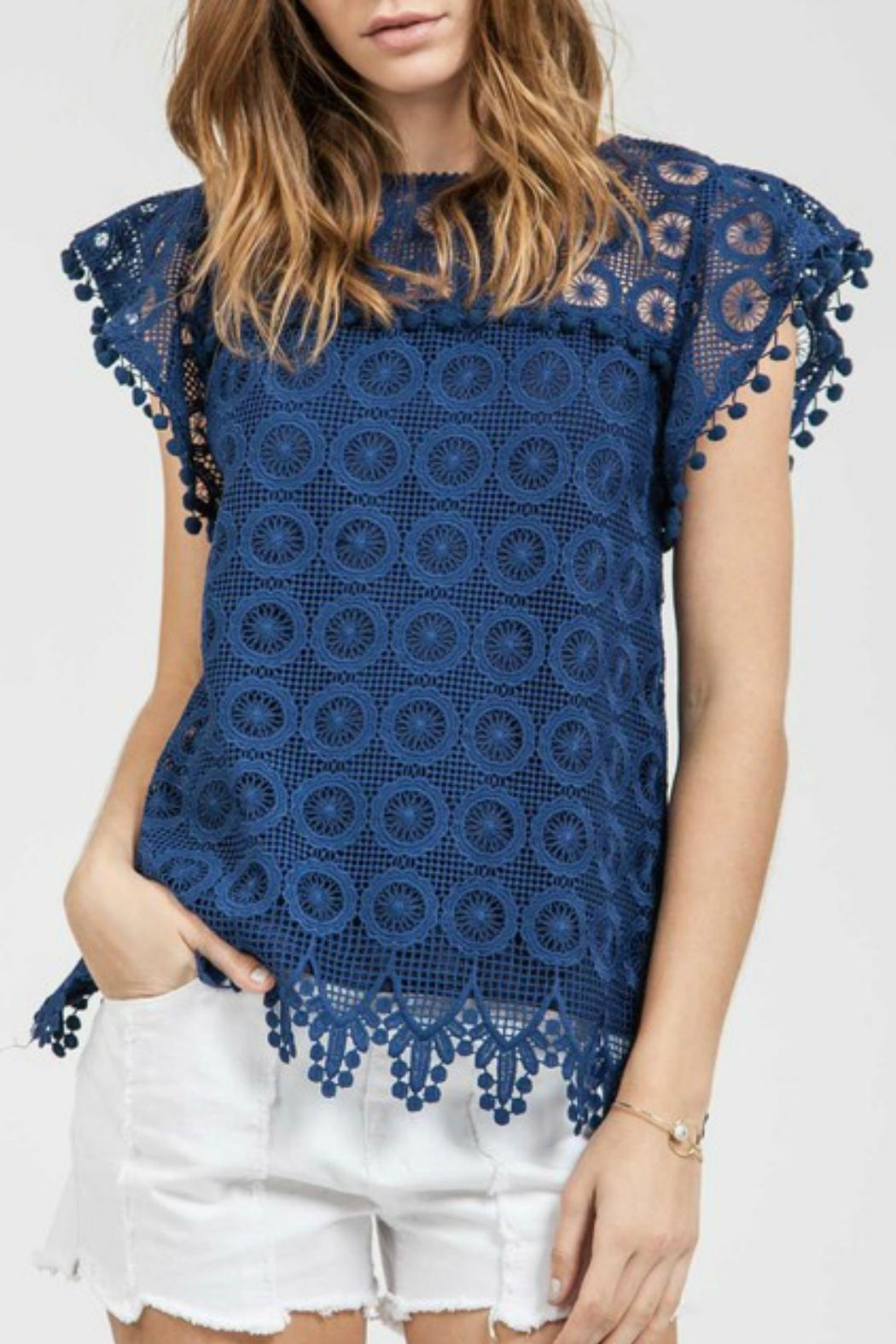 Blu Pepper Pom Pom Top - Front Cropped Image