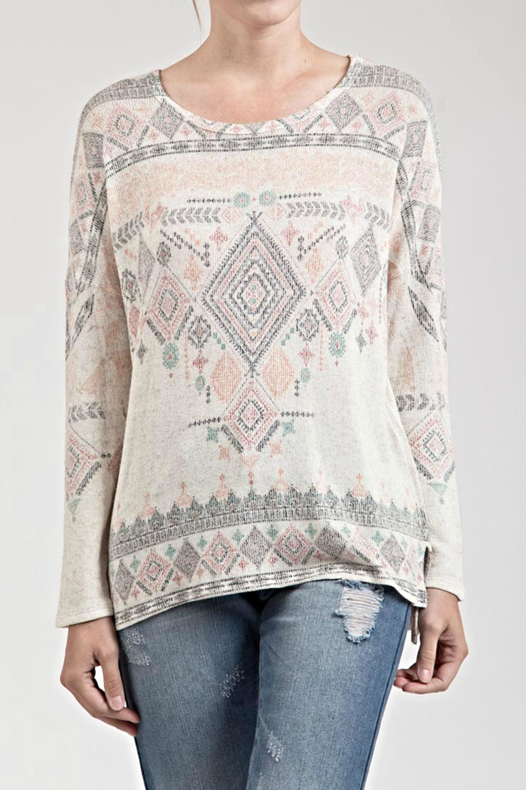 Blu Pepper Printed Pattern Sweater - Front Cropped Image