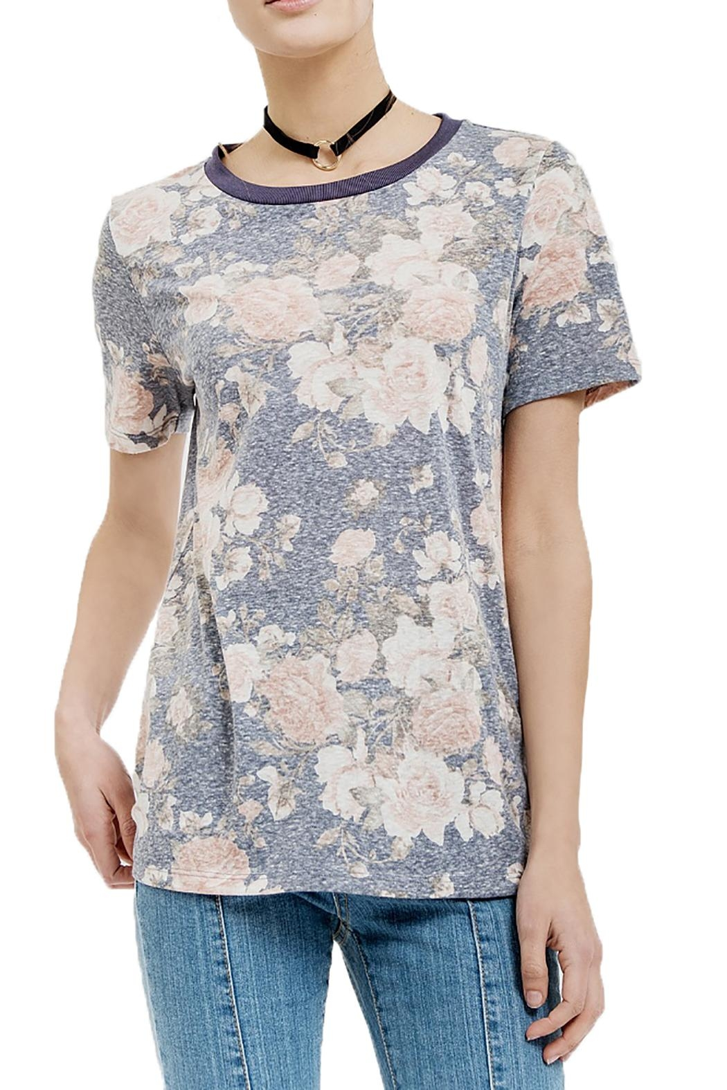 Blu Pepper Rose Knit Top - Front Cropped Image