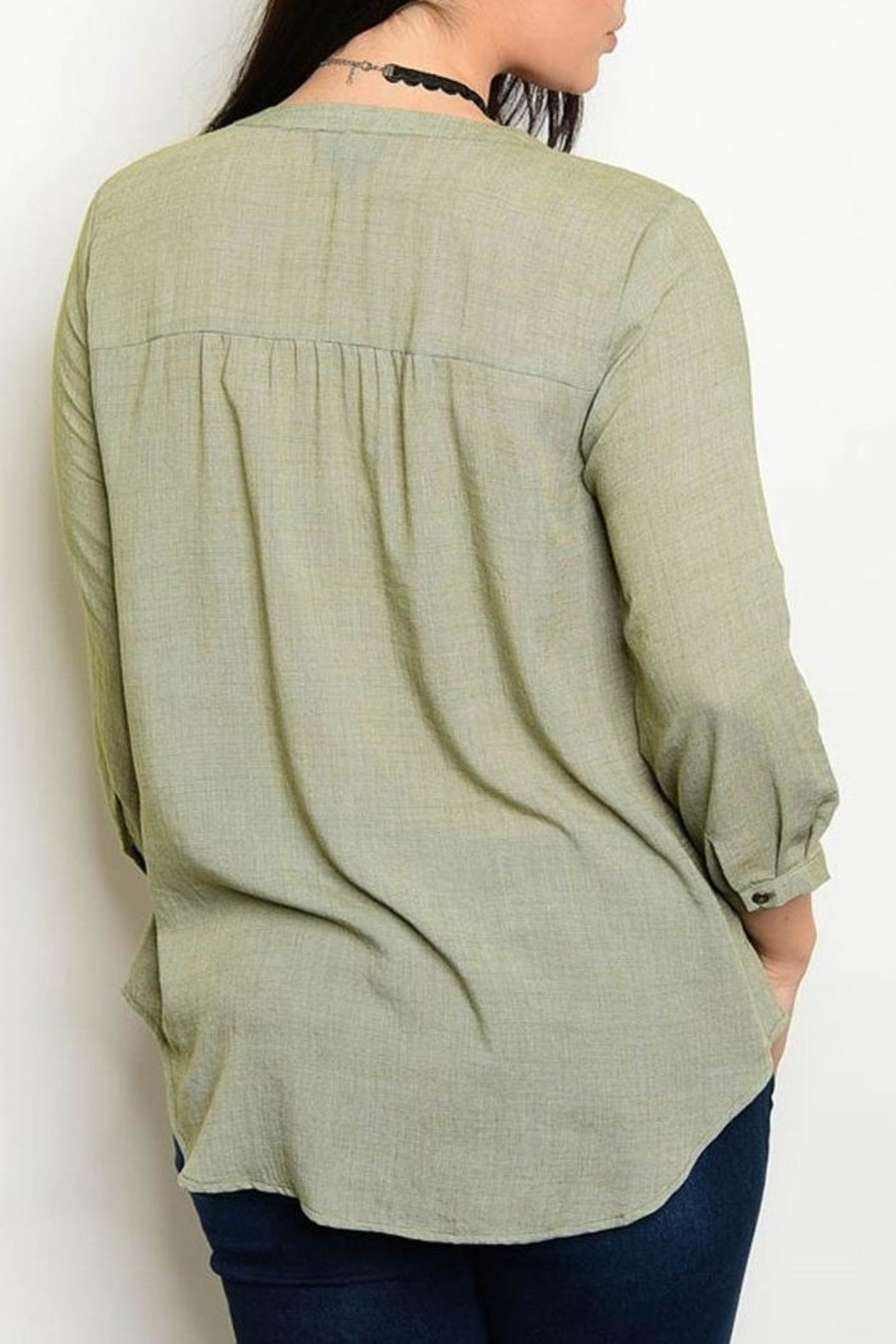 Blu Pepper Sage Lace Blouse - Front Full Image