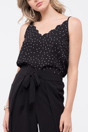 Blu Pepper Scalloped Polka Dot Top - Front cropped