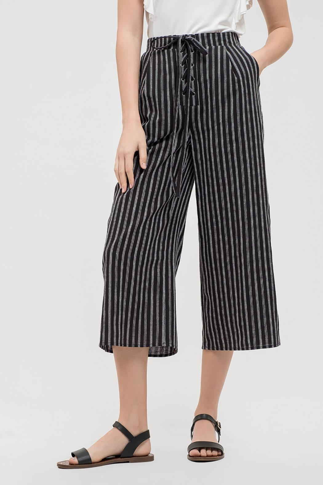 Blu Pepper Striped Drawstring Capris - Front Cropped Image