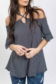 Blu Pepper Striped Off Shoulder Halter - Product Mini Image