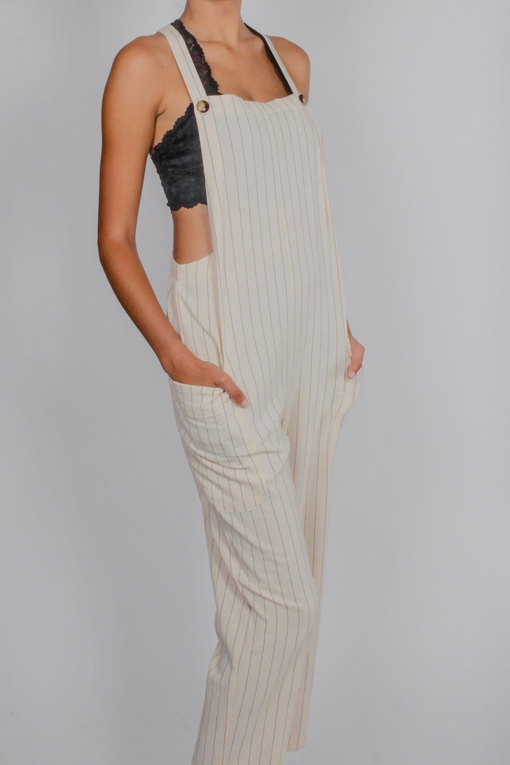 Blu Pepper Striped Overalls - Front Full Image