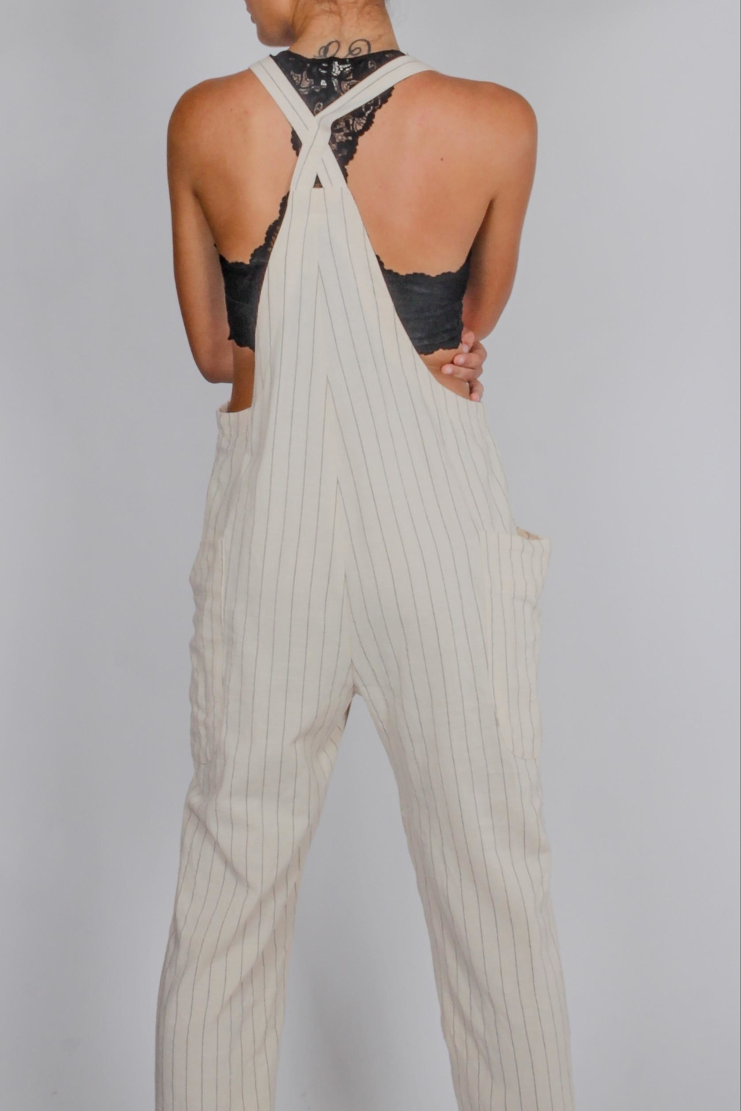 Blu Pepper Striped Overalls - Side Cropped Image
