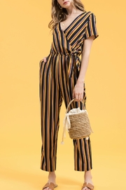 Blu Pepper Striped Sleeve Jumpsuit - Product Mini Image