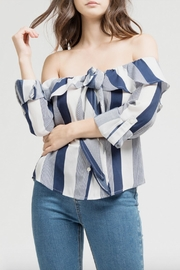 Blu Pepper Stripes Ruffle Top - Product Mini Image