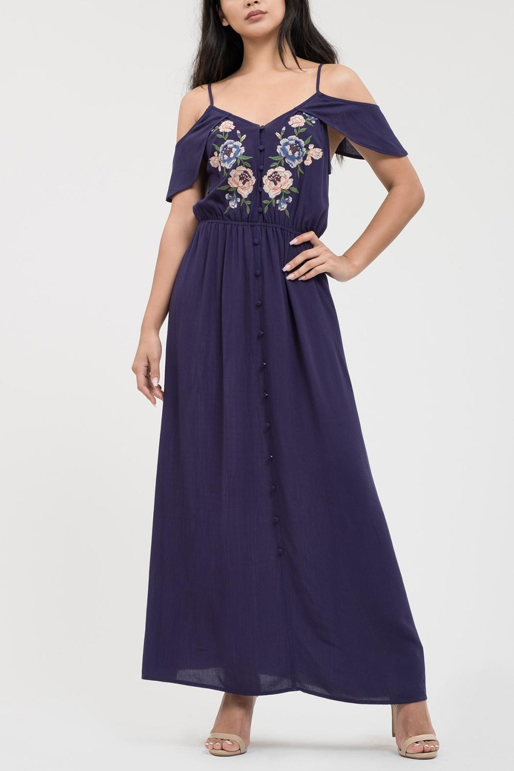 Blu Pepper Sweetheart Embroidered Maxi - Front Cropped Image