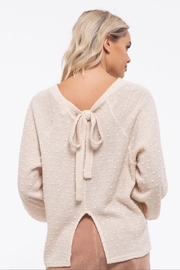 Blu Pepper Swiss Dots And Bow Sweater - Back cropped