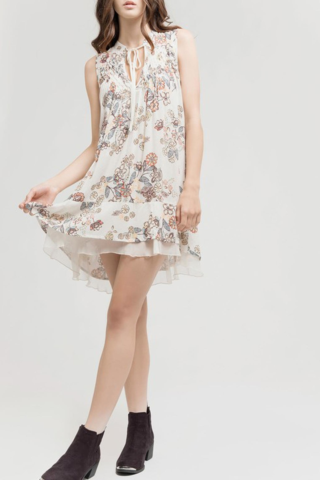 Blu Pepper Tan Floral Dress - Front Cropped Image