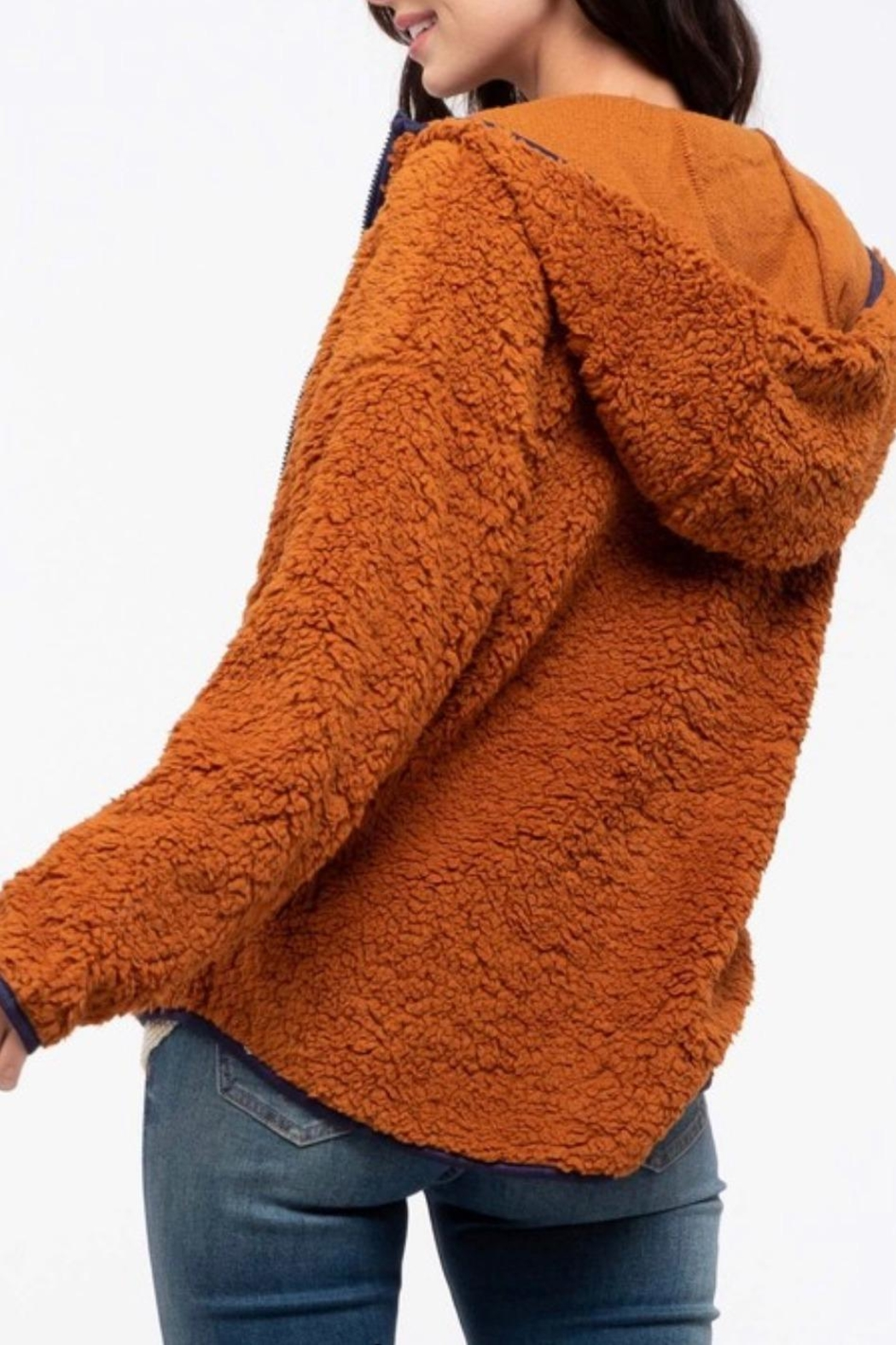 Blu Pepper Teddy Bear Jacket - Side Cropped Image
