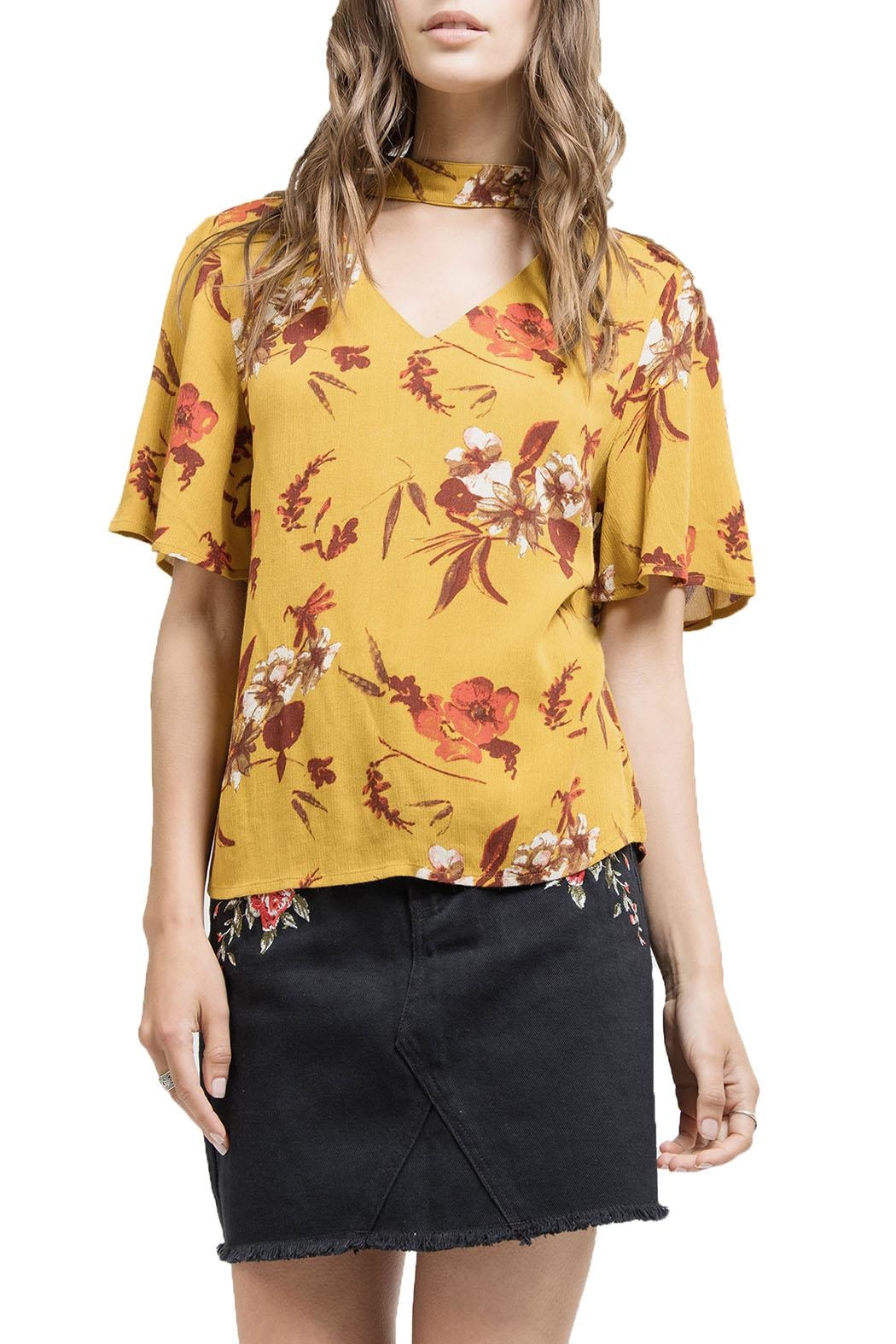 Blu Pepper V-Neck Floral Shirt - Main Image