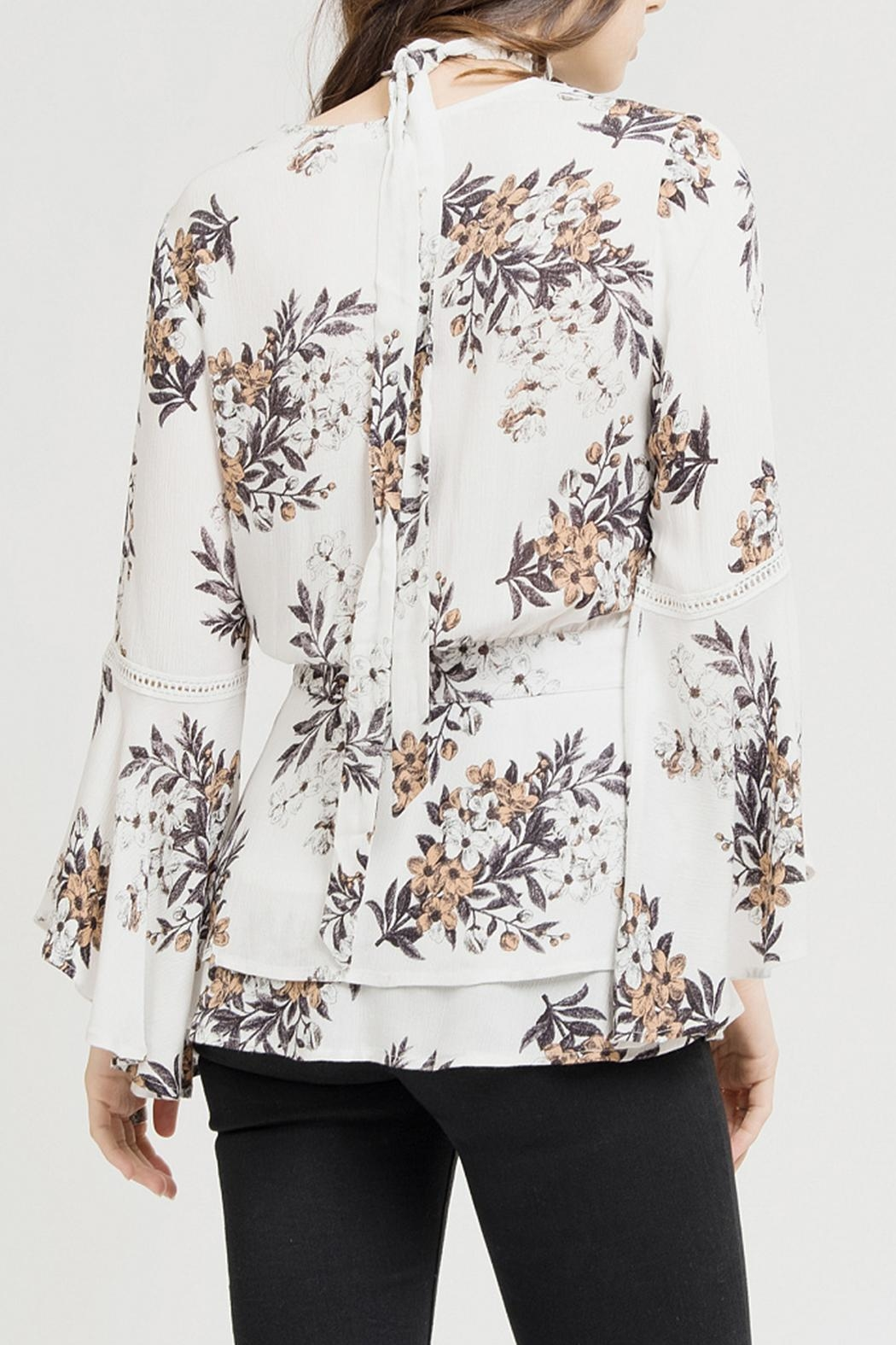 Blu Pepper White Floral Blouse - Front Full Image