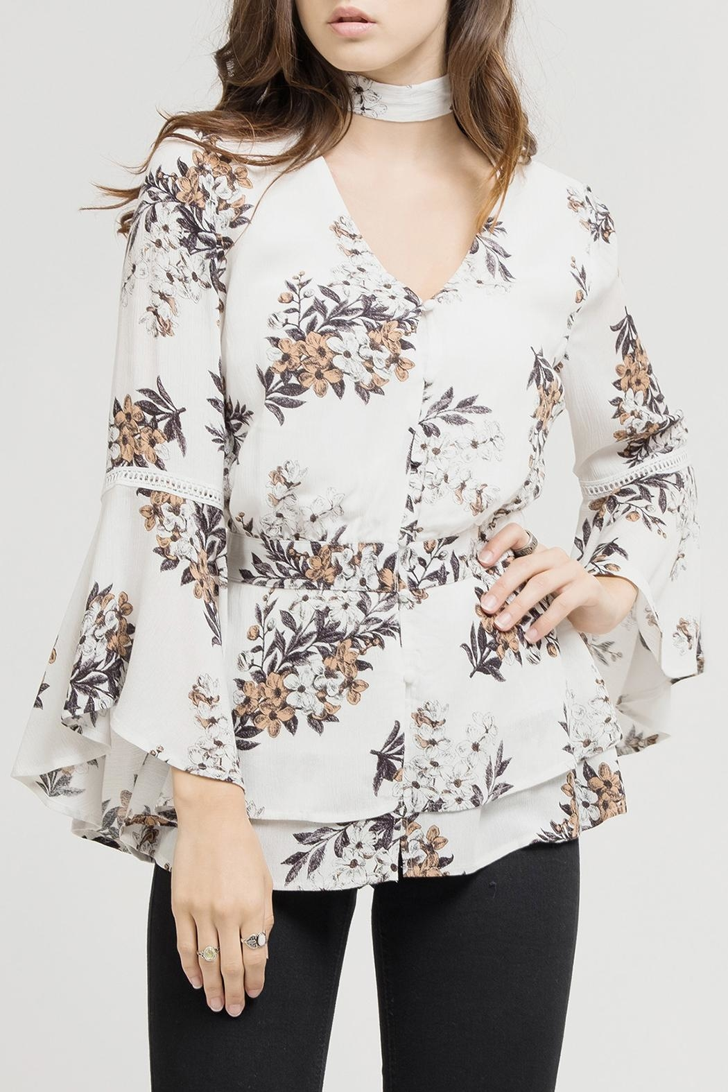 Blu Pepper White Floral Blouse - Main Image
