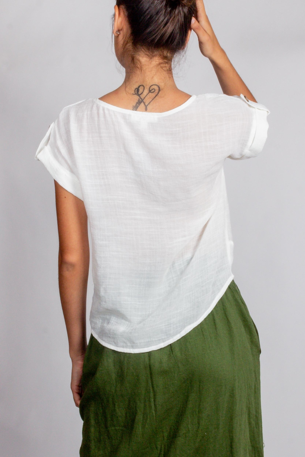 Blu Pepper White-Twist-Front Short-Sleeve Top - Front Full Image