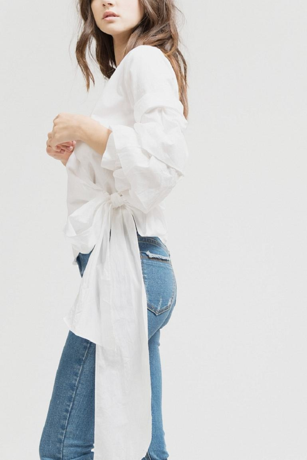 Blu Pepper White Wrap Top - Front Full Image