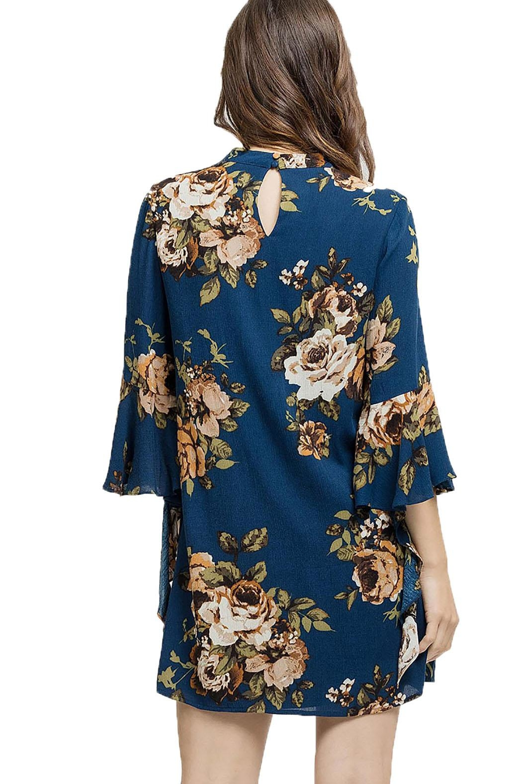 Blu Pepper Woven Floral Dress - Side Cropped Image