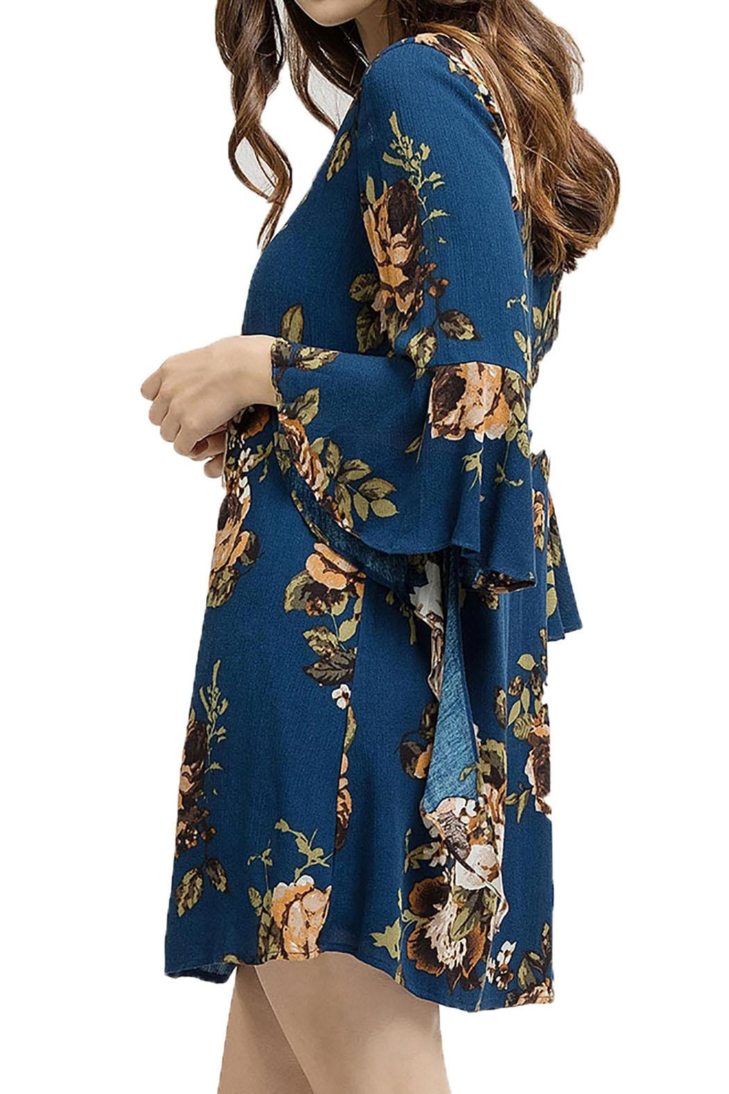 Blu Pepper Woven Floral Dress - Front Full Image