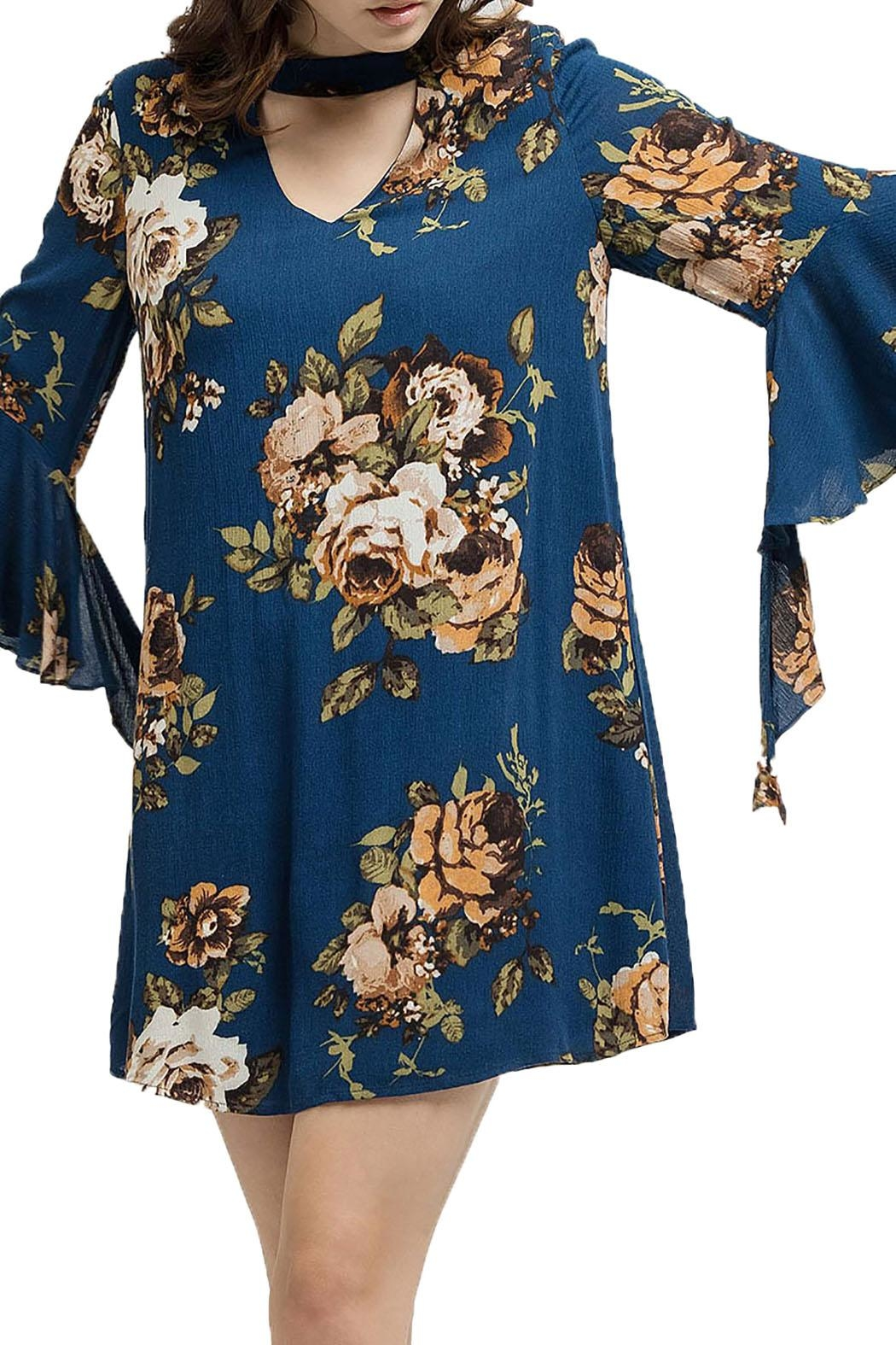 Blu Pepper Woven Floral Dress - Back Cropped Image