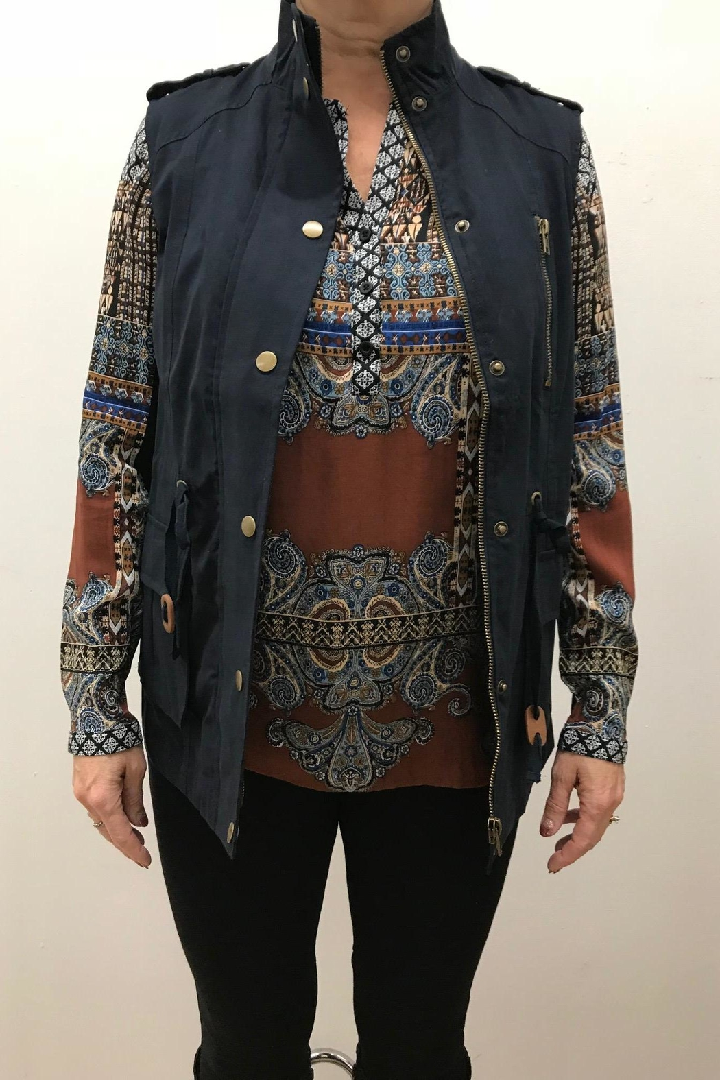 Blu Pepper Woven Vest - Front Cropped Image