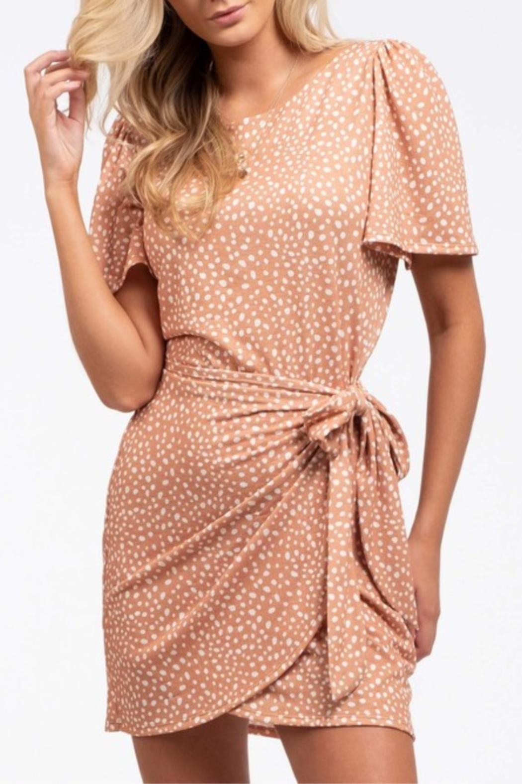 Blu Pepper Wrapped-In-Dots Dress - Side Cropped Image