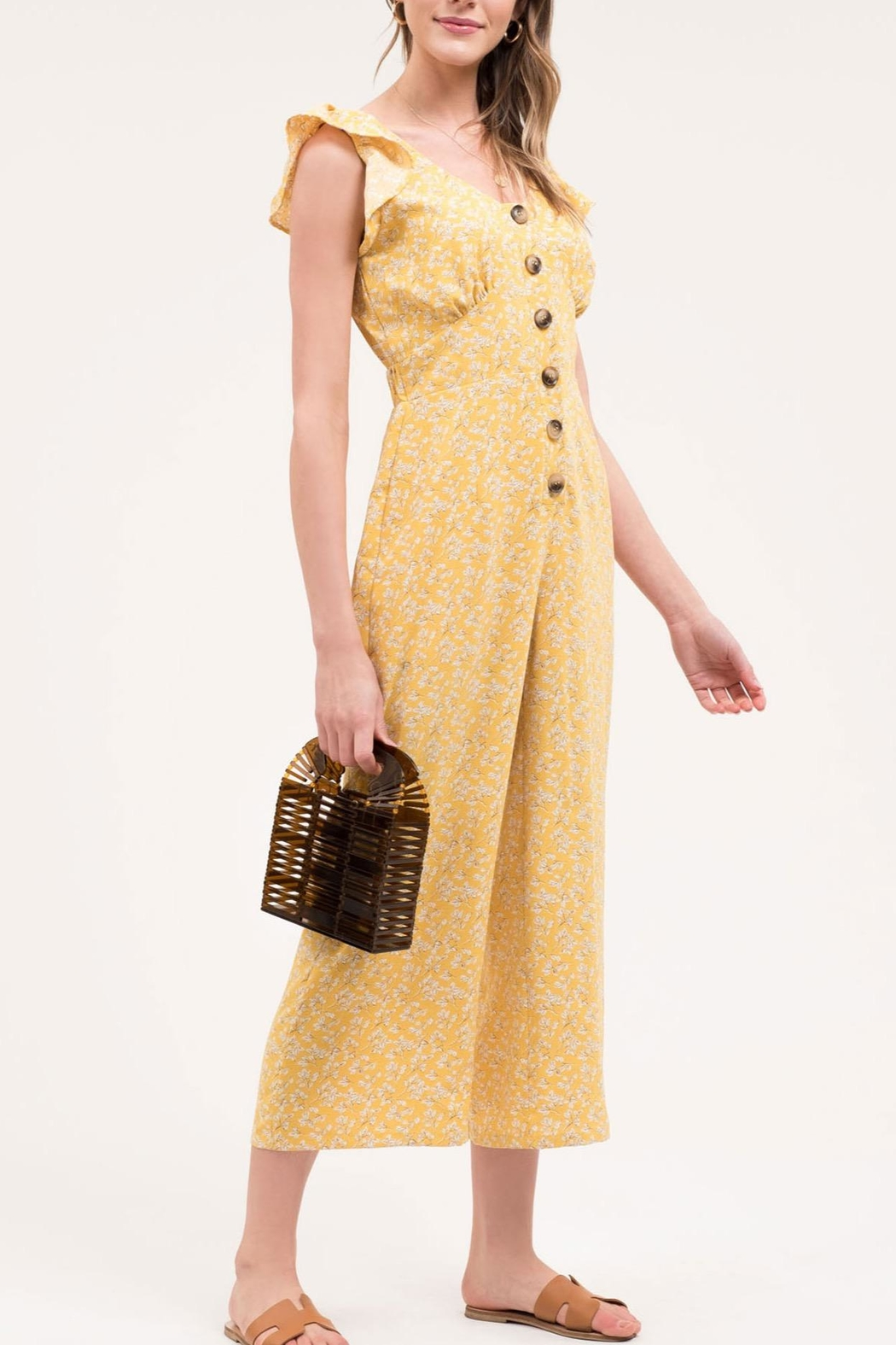 Blu Pepper Yellow Floral Jumpsuit - Side Cropped Image