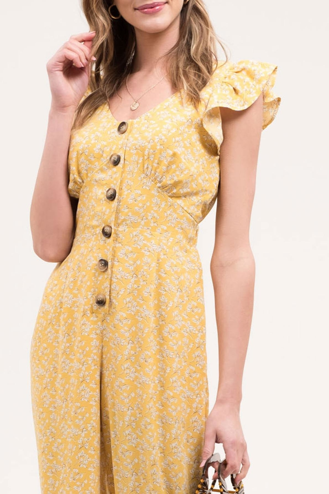 Blu Pepper Yellow Floral Jumpsuit - Back Cropped Image