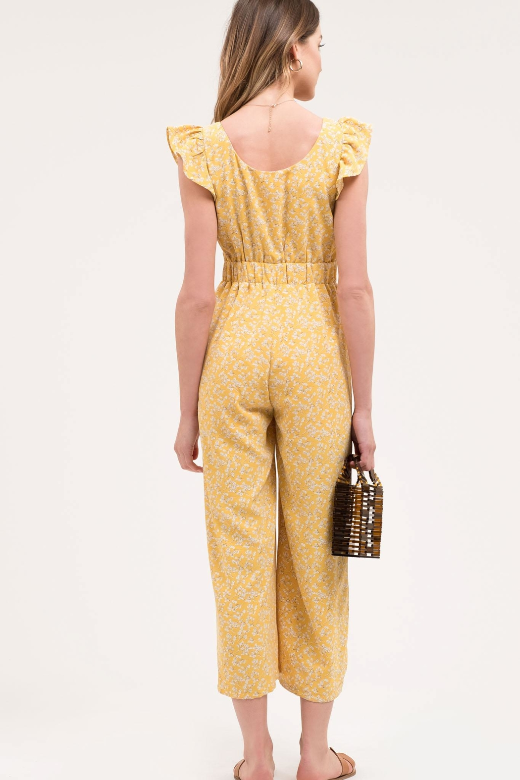 Blu Pepper Yellow Floral Jumpsuit - Front Full Image
