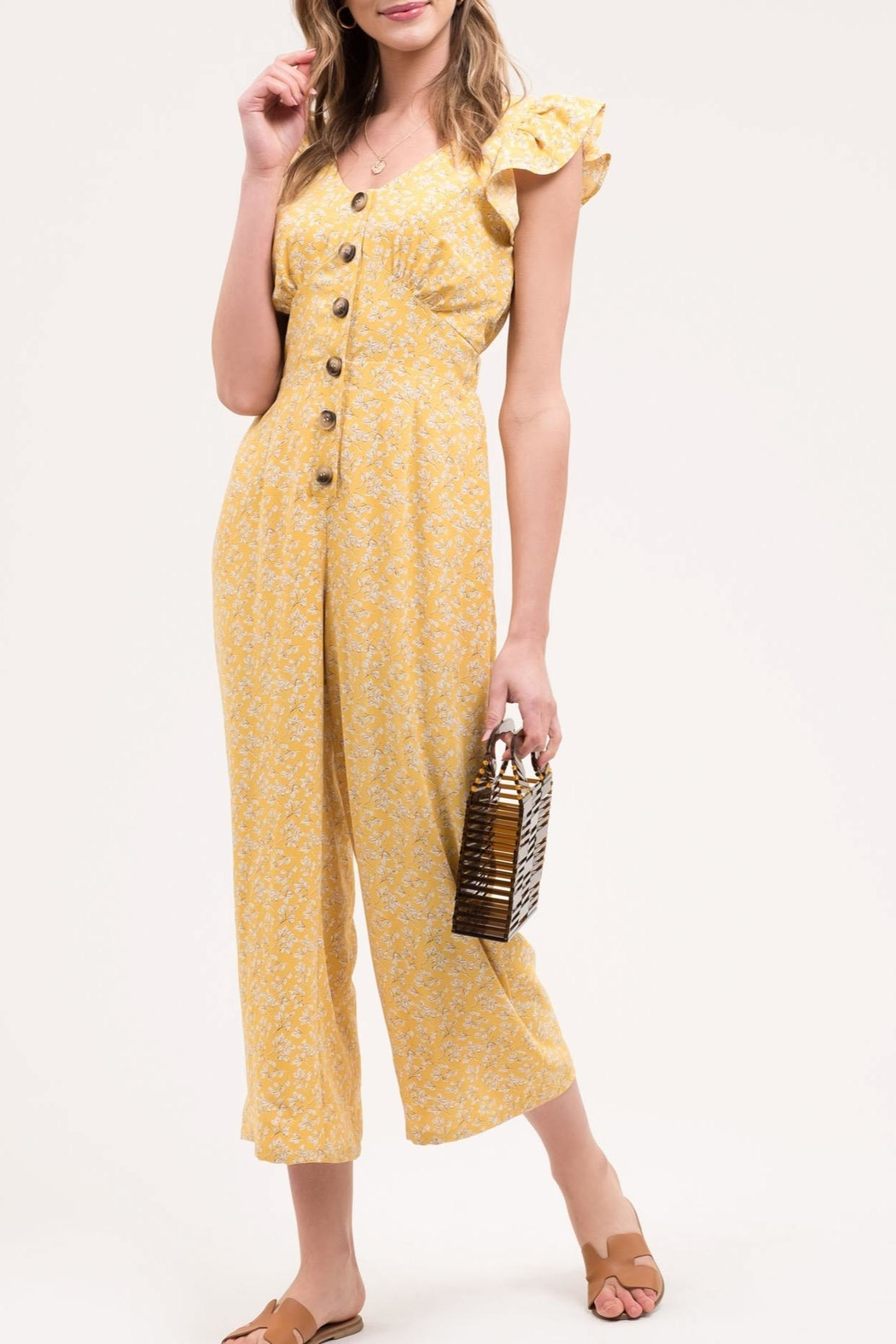 Blu Pepper Yellow Floral Jumpsuit - Main Image