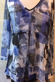 Lynn Ritchie Blue abstract tunic top - Product Mini Image
