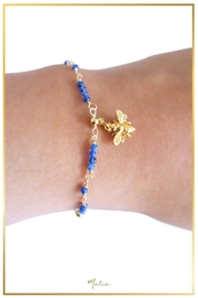 Malia Jewelry Blue-Agate Bee Bracelet - Front full body