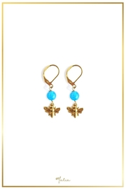 Malia Jewelry Blue-Agate Bee Earrings - Product Mini Image