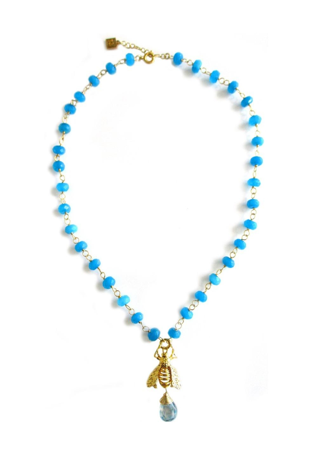 Malia Jewelry Blue-Agate Bee Necklace - Front Full Image