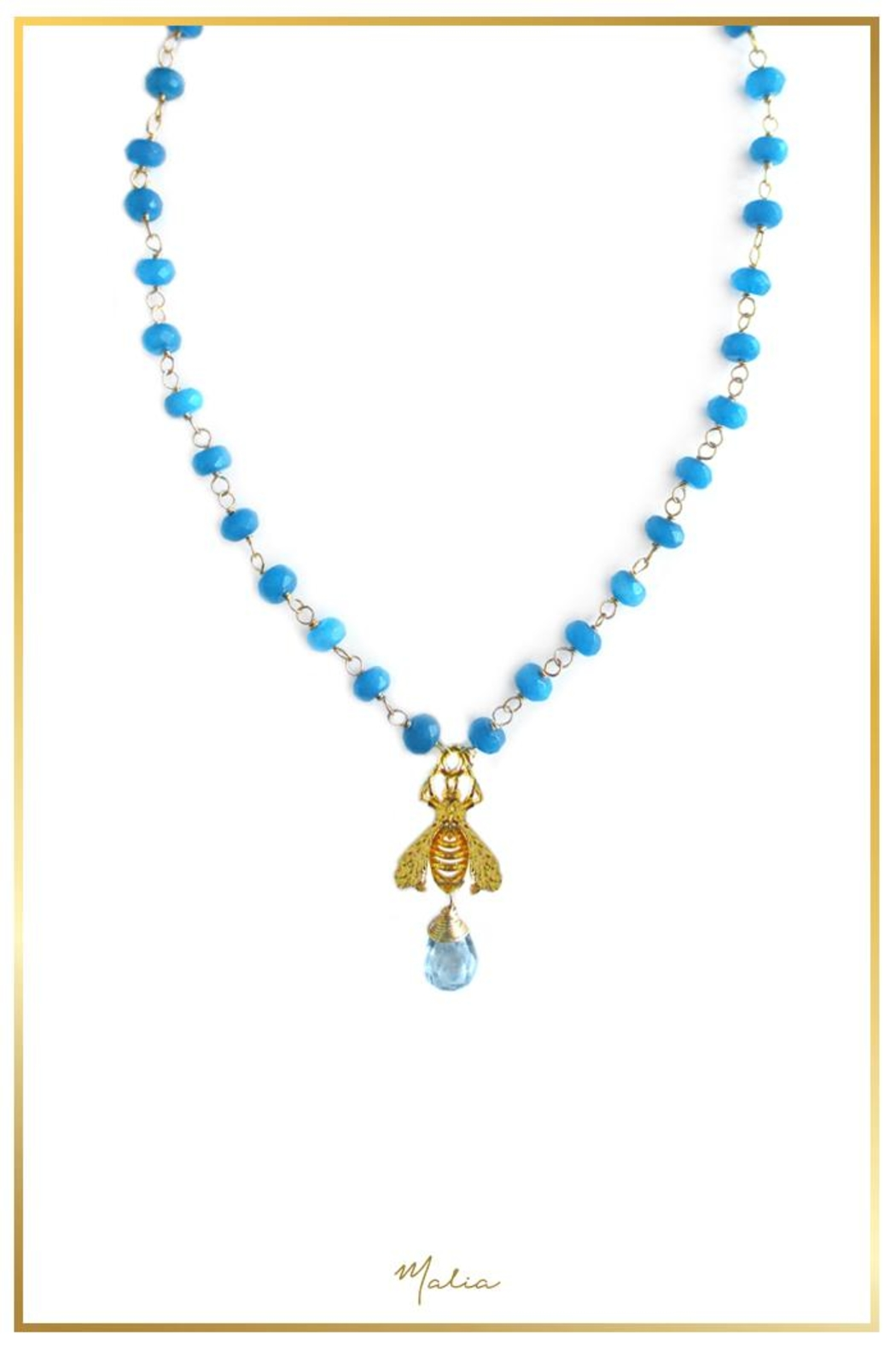 Malia Jewelry Blue-Agate Bee Necklace - Main Image