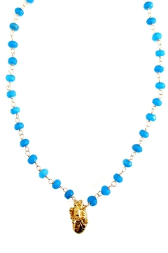 Malia Jewelry Blue-Agate Heart Necklace - Product List Image