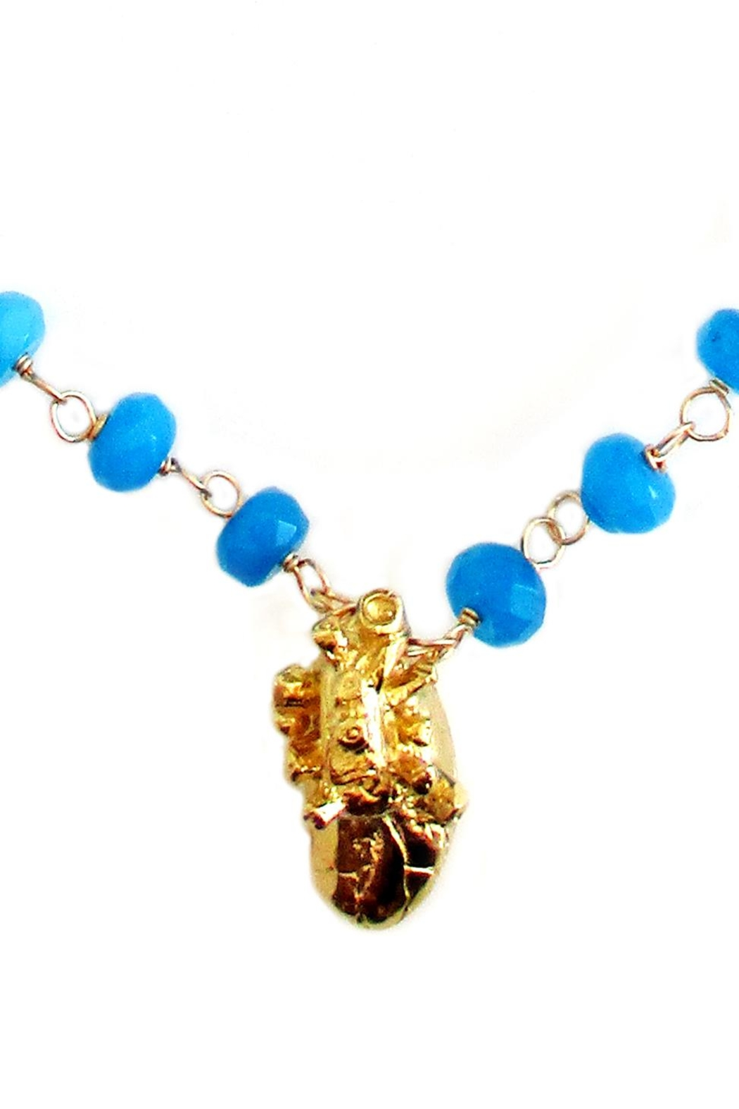 Malia Jewelry Blue-Agate Heart Necklace - Front Full Image