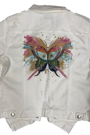 Blue Age Jeans [Blue Age] Women's Colored Denim Jean Jacket with Hand Painted Pink Butterfly - Product Mini Image