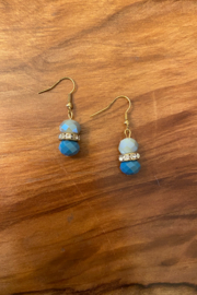 tesoro  Blue and Gold Beaded Dangle Earings - Product Mini Image