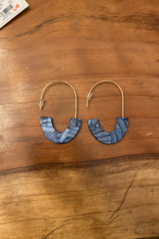tesoro  Blue and Gold Dangle Hoop Earrings - Product Mini Image