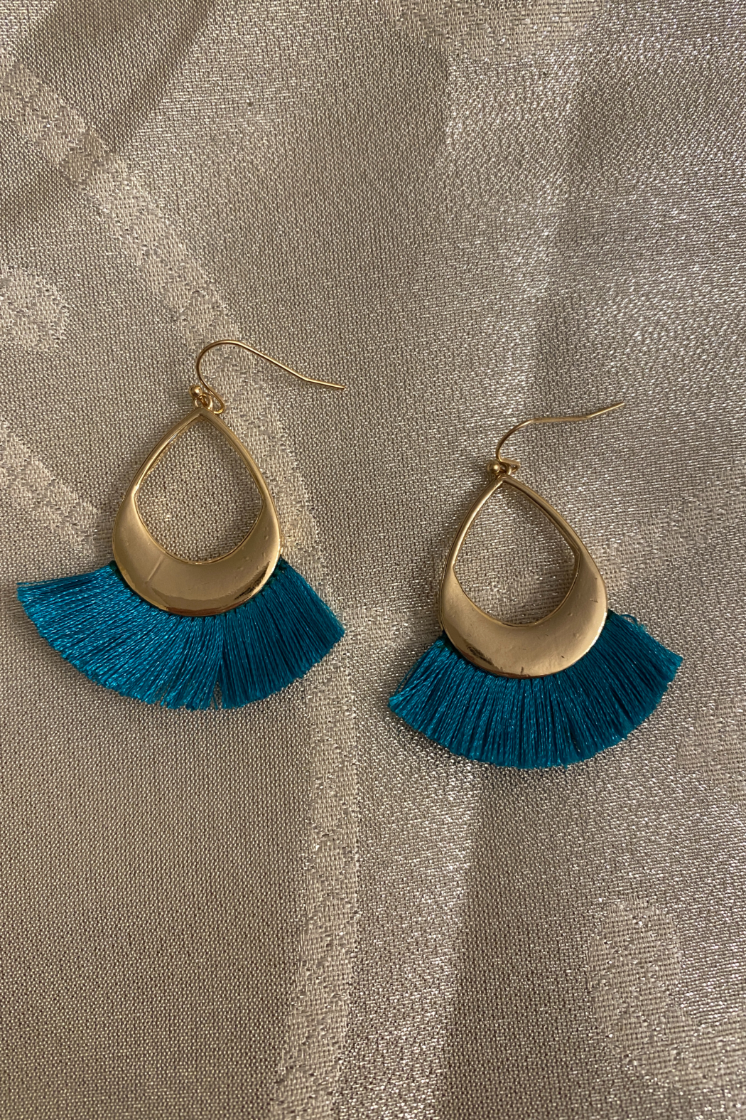tesoro  Blue and Gold Dangle Tassel Earrings - Main Image