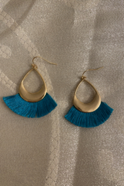 tesoro  Blue and Gold Dangle Tassel Earrings - Front cropped