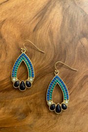 tesoro  Blue and Gold Multi Dangle Earrings - Front cropped