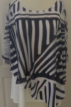 Shoptiques Product: Blue and ivory striped layered top