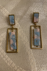 tesoro  Blue and Pink Multi Resin Earrings - Product Mini Image