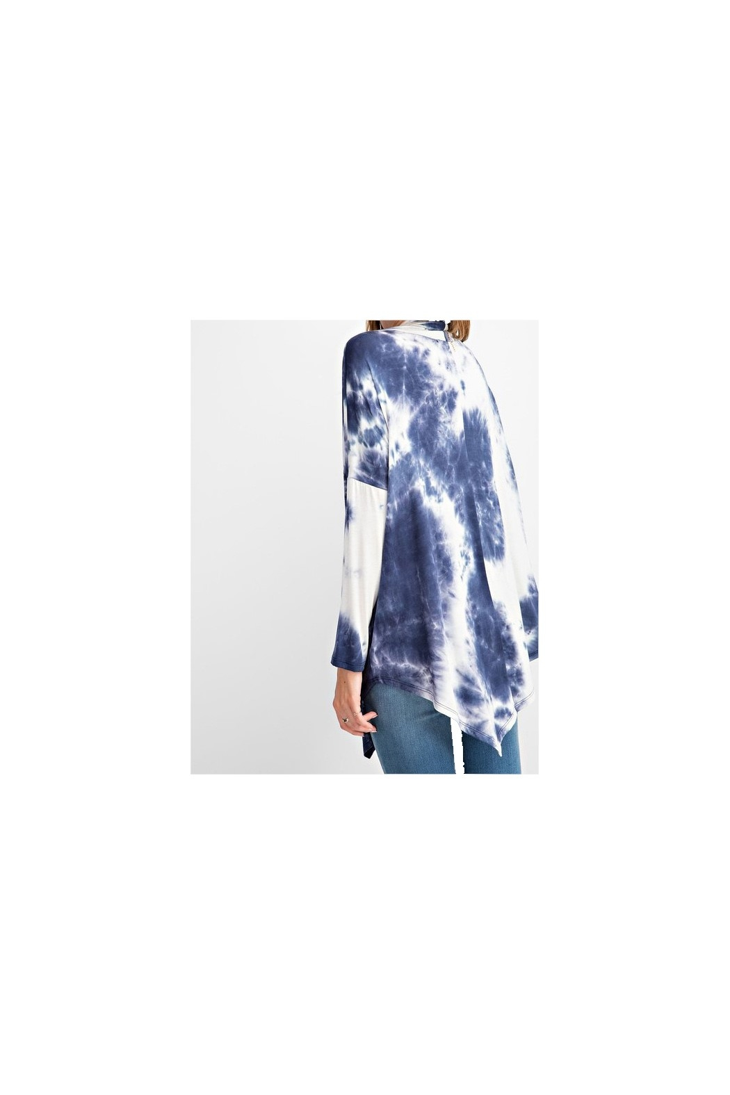 RAE MODE Blue and white asymmetrical tie dye long sleeve knit - Front Full Image