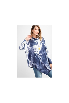 RAE MODE Blue and white asymmetrical tie dye long sleeve knit - Product List Image