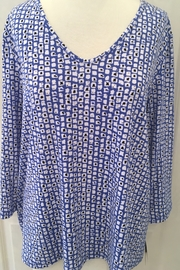 Clara Sunwoo Blue and white patterned tunic top - Product Mini Image